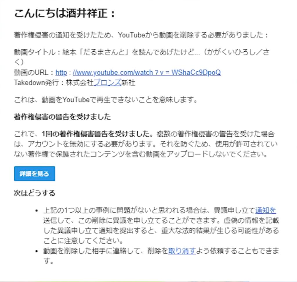 YouTubeから届いた著作権侵害のメール